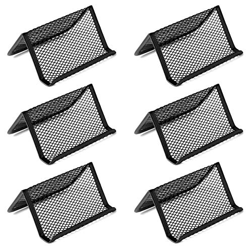 JIAKAI 6 Pack Black Metal Mesh Business Card Holder Desk Business Card Organizer for Desk Office Name Card with 50 Name Card Capacity