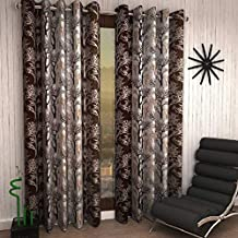 Home Ready 2 Piece Eyelet Polyester Long Door Curtain Set-Size-9 feet Long, Brown