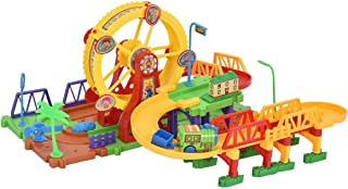 COSTWAY Railroad Construction Set | Building Block Set | Railway Set | with Lights & Music | 54 pc