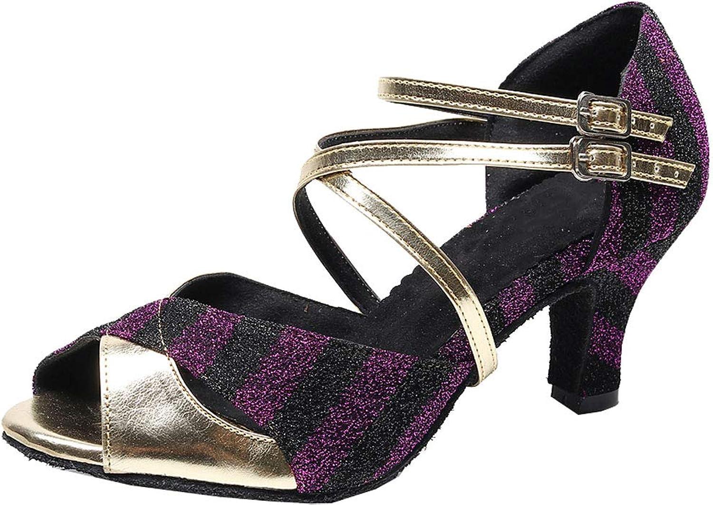 Vimedea Womens Heeled Latin Dance shoes Ballroom Salsa Open Toe Ankle Strap Salsa 7160