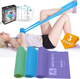 A AZURELIFE Professional Resistance Bands, 3 Different Strengths of Exercise Bands, 5 ft. Long Latex Free Elastic Stretch Bands for Physical Therapy, Yoga, Pilates, Rehab, Home Workout