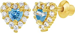 18k Gold Plated Heart Screw Back Earrings Baby Toddlers Girls Cubic Zirconia
