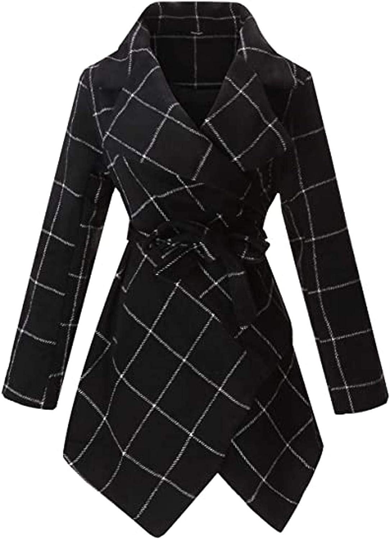 Womens Winter Coats,Women Classic Lattice Winter Overcoat Lapel Double Breasted Woolen Long Coat