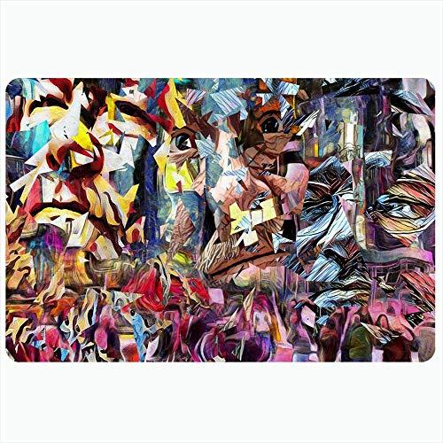 Zome Lag Estera De Entrada Tapete De Ducha Tapete De Suelo Alfombras De Piso,Extraño Creativo Complejo Pintura Abstracta Pensador Dali Colorido Mosaico Retorcido 3D Elementos Artísticos