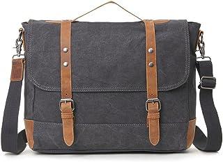 Men's Accessories Office Vintage Style 9.7 Inch Laptop Handbag Casual Business Briefcase Shoulder Messenger Satchel Bag,Khaki,Green/Blue/Gray Outdoor Recreation (Color : Gray)