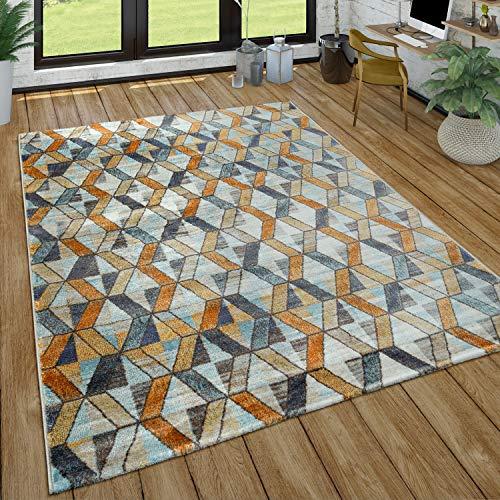 Paco Home Wohnzimmer-Teppich, Kurzflor-Teppich Mit Rauten-Muster, In Gelb, Blau, Grau, Grösse:240x340 cm