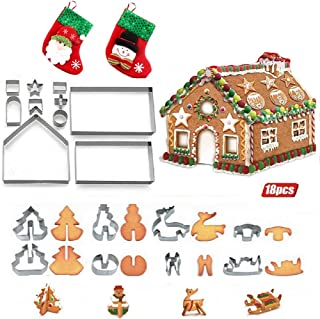 Christmas Gingerbread House 3D Stainless Steel Cookie Cutter, Box Packaging Decorations Gift Sets with 2PCS Mini Christmas Stockings for Cookies Chocolate Christmas Tree Decor Ornaments