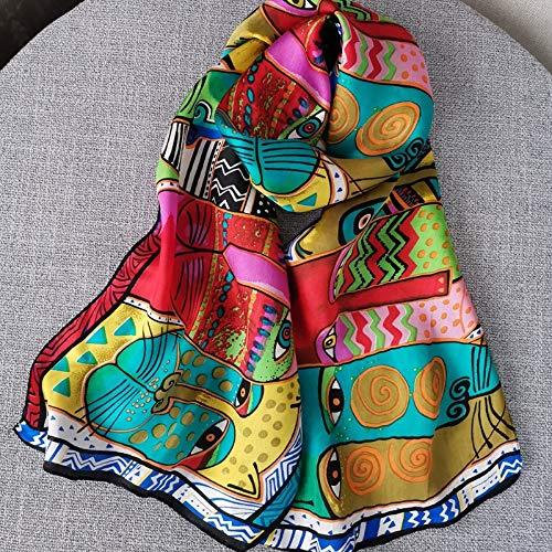 YUNYUN Bufanda de seda pura de 6 mm, diseño de gato, Foulard para mujer, larga seda natural, impresión digital, Pashmina Hijab marca de lujo -Sfn849C30, talla única