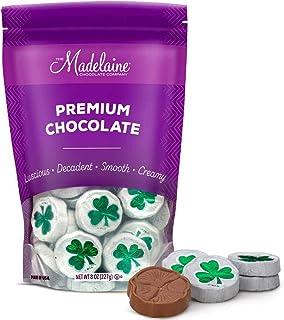 Madelaine Solid Premium Milk Chocolate Shamrocks Wrapped In Matte White Italian Foil - 1/2 LB