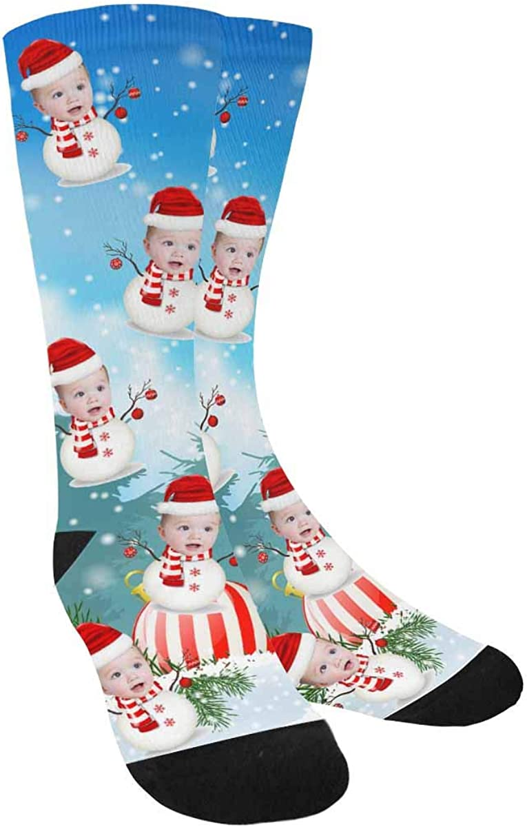 Custom Personalized Photo Pet Face Baltimore Mall Snowflakes Socks i Christmas Super special price