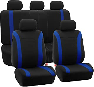 FH Group FH-FB054115 Blue Cosmopolitan Flat Cloth Seat Covers, Airbag Compatible and Split Bench, Blue/Black Color-Fit Most Car, Truck, SUV, or Van