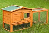 P PURLOVE Rabbit Hutch Cage, Bunny House, Guinea Pig Hutch Cage with Hide Run and Linoleum Roof 2-Tier (Orange)