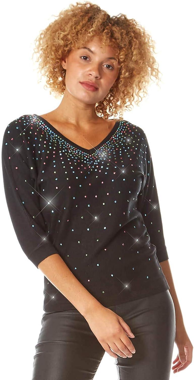 Roman Originals Femmes hotfix Embelli Tricot T-shirt Top