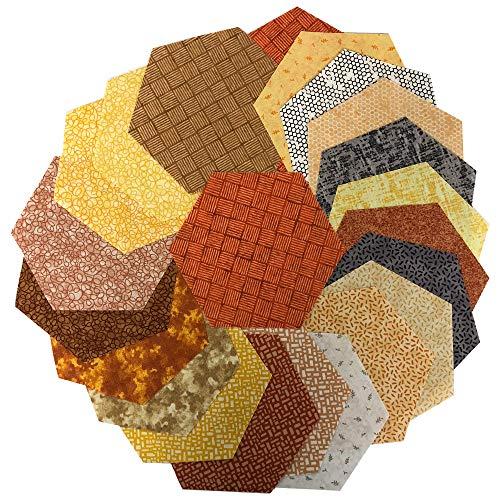 Midwest Textiles Sit 'n Sew Precut Quilters Stash 5'' Hexagon 42 Pcs. Fall Blender