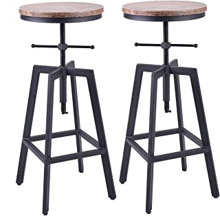 Diwhy Industrial Bar Stools,Kitchen Dining Chair,Wood Metal Bar Stool,Adjustable Height Swivel Counter Height Bar Chair,Fully Welded Set of 2 (Style 7)