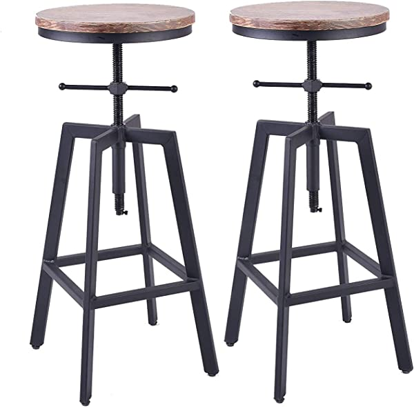 Diwhy Industrial Style Vintage Bistro Bar Stools Kitchen Dining Chair Wood Metal Bar Stool 24inch 30inch Swivel Counter Height Stools Adjustable Height Set Of 2 Chairs Fully Welded