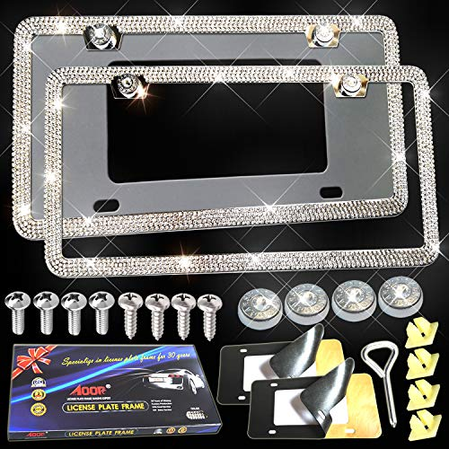 Aootf Bling License Plate Frames - Glass Crystal Diamond Metal License Plate Frame Slim Stainless Steel License Plate Covers Tag Holders for Women, Men with Car License Plate Anti-Theft Screw Caps