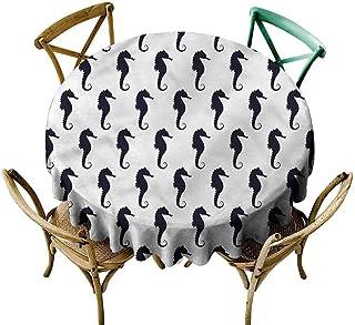 KaMiao Wrinkle Free Tablecloths Underwater,Dark Colored Seahorses Diameter 36