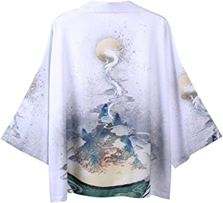 AKDSteel Men Women Robe Cardigan Coat Kimono Dragon Moon Summer Loose 3/4 Sleeve Suncreen Garments Fashion Style
