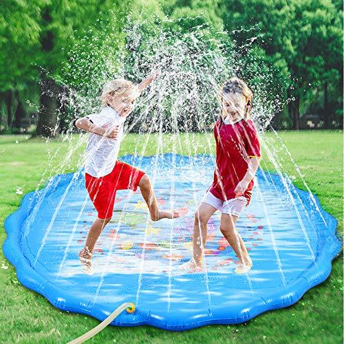 Faburo Sprinkler Spielzeug Splash Pad Sprinkler Wassermatte Aufblasbare Wasserspielmatte Wassergefüllte Spielmatte Wassermatte Pool Kinder Durchmesser 170cm