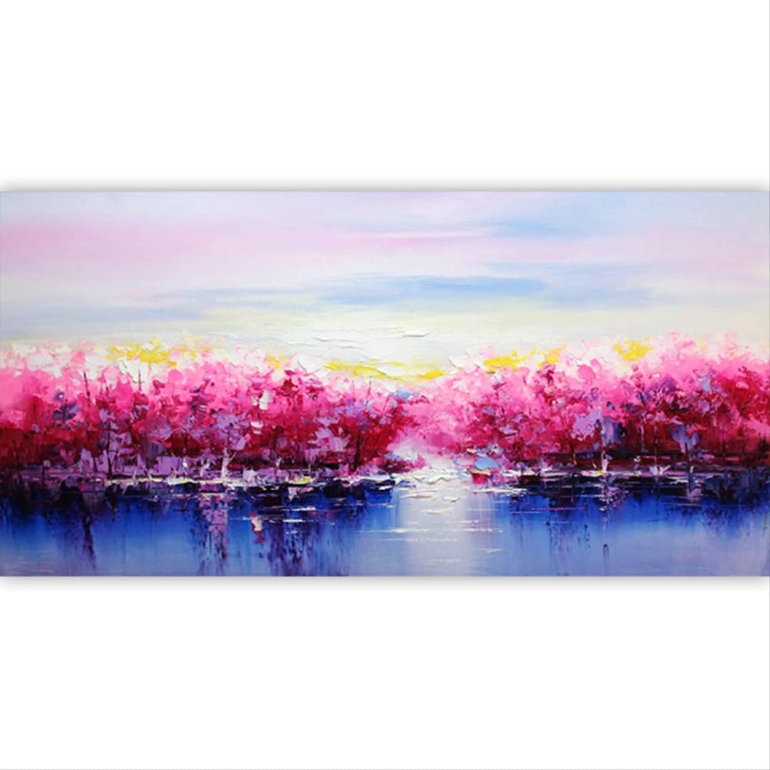 Paint by Numbers for Adults Canvas Yuan Ou Paint by NumbersRed Trees DIY Painting by Numbers Large Size Abstract Modern Wall Art Picture Calligraphy Painting for Home 60x120CM no Frame