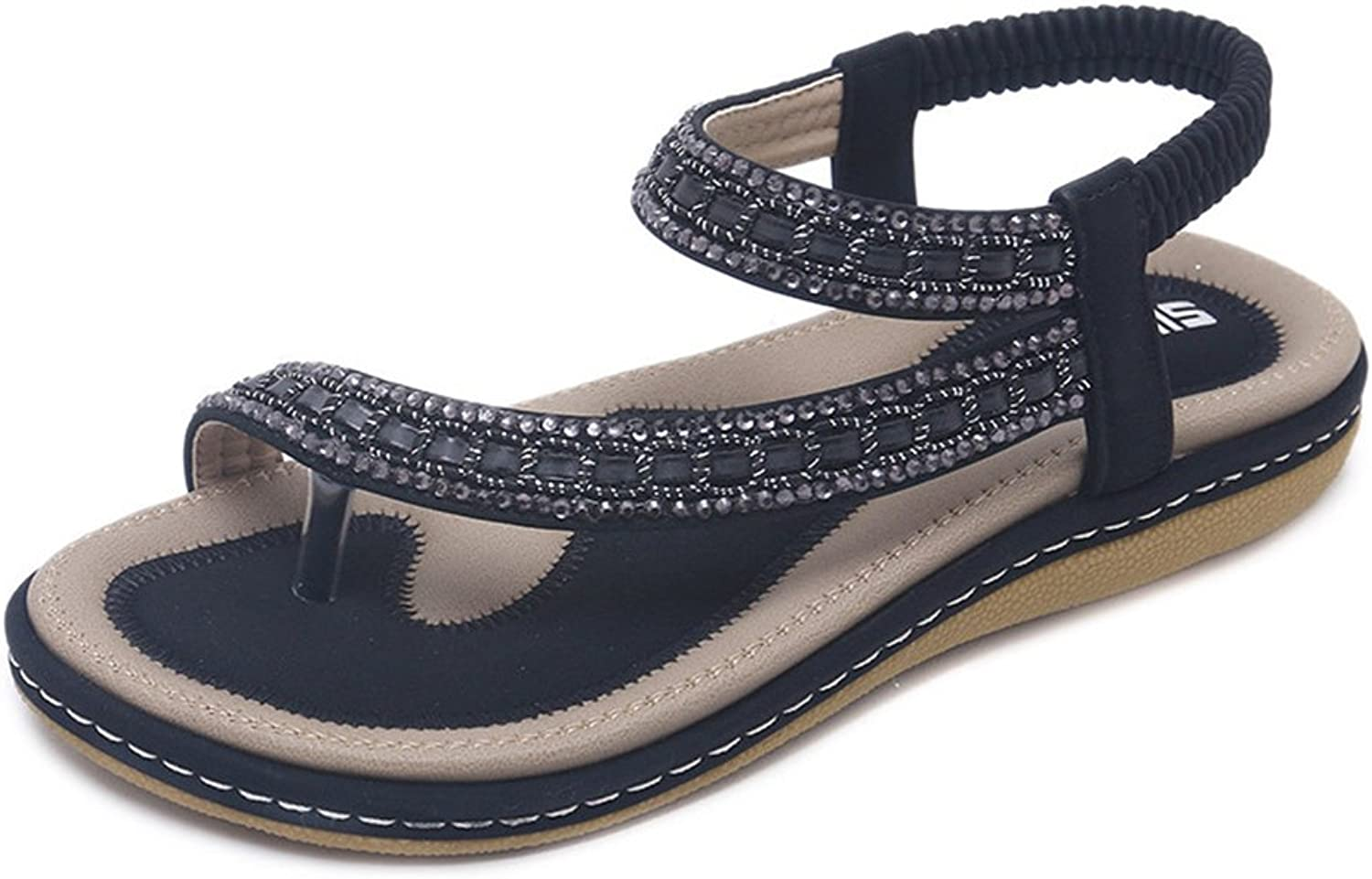 Navoku Women's Casual Leather Flats Sandle Thong Sandals