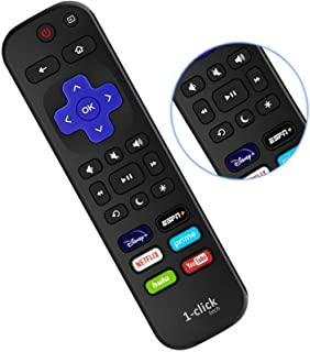 1-clicktech Remote for All Roku TV Brands [Hisense/TCL/Sharp/Insignia/ONN/Sanyo/LG/Hitachi/Element] w/ 6 Shortcut Keys [NO...