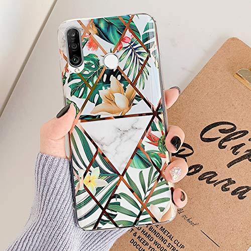 MoreChioce compatible avec Coque Huawei P30 Lite,Coque Huawei P30 Lite Marbre Or,Premium Géométrie Fleur Strass Glitter Silicone Housse de Protection