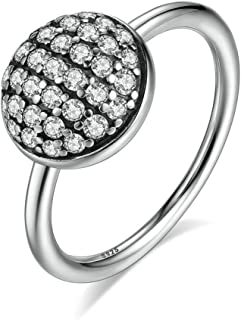 F&F Ring Sterling Silver Dazzling Droplet, Clear Finger Ring Fine Jewelry for Women Wedding Rings