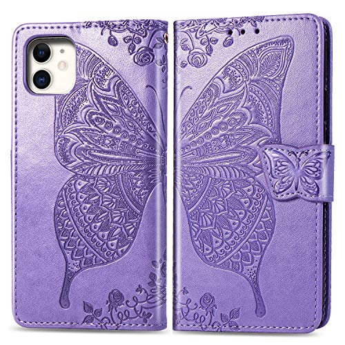 Compatible with iPhone 11 Pro flip Case,Butterfly Heavy Duty Flip Leather Cover Card Slot Holder Closure Magnetic Phone Case with Lanyard, Designed for Apple iPhone 11 Pro Case - Lavender
