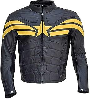 Classyak Men's Fashion Real Leather Motorbike Soldier Jacket