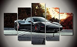 Black Ferrari 458 Italia Exotic Supercar Sports Car Race Italian Car Canvas Prints Picture Painting Framed Ready to Hang (5 Panels/Set)