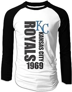DVPHQ Men's Cool Kansas City KC Logo Royal Long Sleeve Shoulder Tee Black