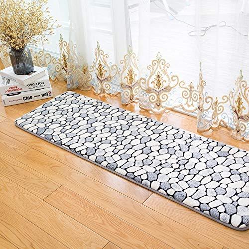 Carpet ZQE-LP Bedroom Balcony Strip Carpet Kitchen Mat Coral Fleece Printed Goose Soft Stone Carpet Double Non-Slip Vacuum and Dirt Resistant, B, 16X47In