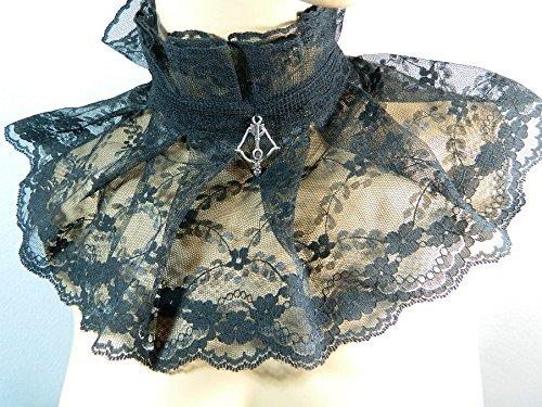 Halsband Armbrust schwarz Spitze Kropfband Choker Kette Gothic Lolita Kragen