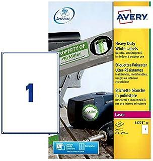Avery L4775-20- Set di Etichette per Identificare Cavi Elettrici, 210 x 297, 20 Pezzi