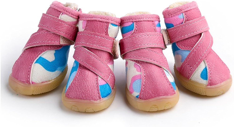 Dog shoes, Waterproof SlipOn Plush Pet Boots Winter Warm Snow Boot Zipper Velcro WearResistant Oxford shoes 4 PCS Medium Pet Sneakers 2 colors & 5 Sizes (color   Pink, Size   1 )