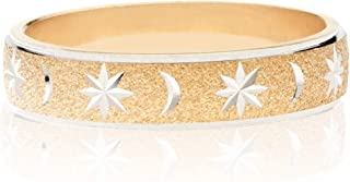 Italian 925 Sterling Silver or 18K Yellow Gold Over Silver Moon and Star Eternity Band Ring for Women Men Teens Girls