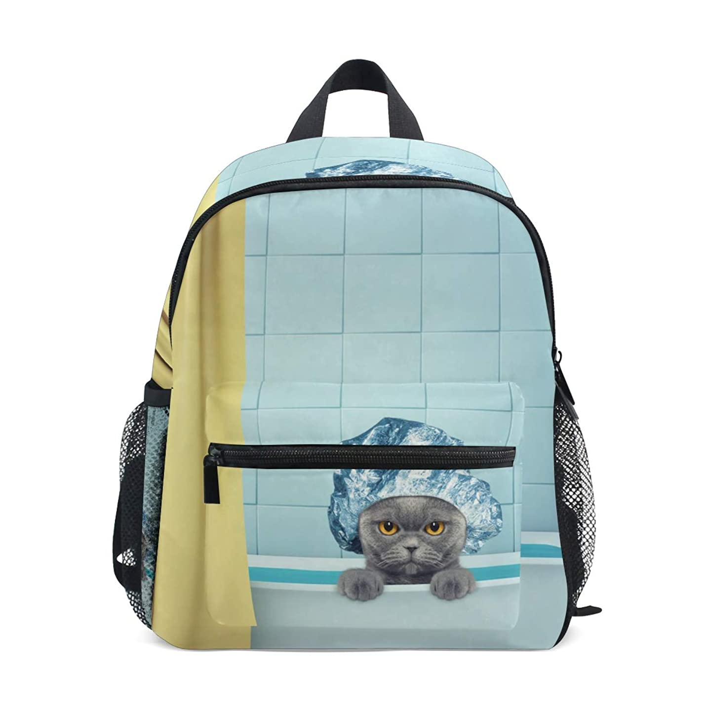 宿題シーサイド最高キッズ リュック2歳 3歳 4歳 5歳 リュックサック バックパック猫柄 ネコ 可愛い 面白い 小サイズ ジュニア通学 バッグ 通園 遠足 デイバッグ 韓国 軽い 機能性 軽量 ポリエステル 撥水加工