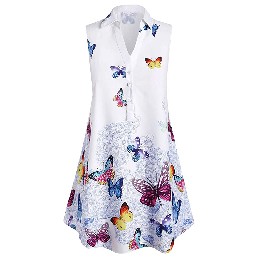 general3 Women Plus Size Tank Tops Casual Butterfly Print Button Henley Shirt Sleeveless V Neck Vest Tunic Blouse