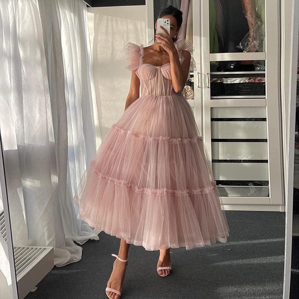 Columbus Mall FWJSDPZ Vintage Simple Light Pink Short Tiered Prom Dresses Tull Max 81% OFF