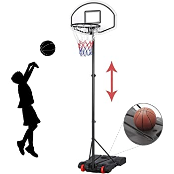 YAHEETECH Kids Portable Basketball Hoop System Stand Indoor Outdoor with Adjustable Height, Backboard and Wheels