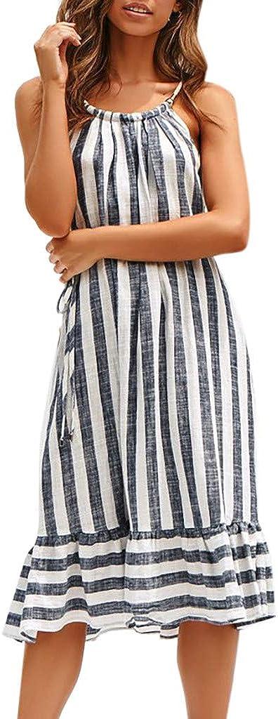 San Diego Mall Lethez Women's Sleeveless Halter Neck Ruffles New mail order Hem Stripe Midi Dr