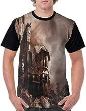 BlountDecor Loose T Shirt,Buildings Clock Tower Fashion Personality Customization
