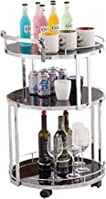 Wine Rack Wine Trolley / 3 Tier Tempered Glass/Serving Trolley with Bottle Holder/Wheeled Storage Holder/Serving Trolley/f...