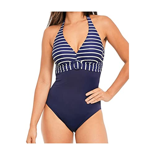 7b31ec4652202 Figleaves Womens Tailor Halter Neck Underwired Tummy Control Shaping  Swimsuit Blue