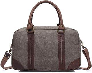 LIUFULING Men's Large Canvas Travel Bag School Bag Outdoor Travel Rucksack Vintage Briefcase Satchel Shoulder Bag (Color : Gray, Size : OneSize)