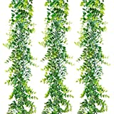 Ouddy 3 Packs Eucalyptus Garland 17.7ft Fake Vines Greenery Garland Backdrop Garland Decor, Fake Hanging Plant for Table Festival Wall Indoor Outdoor Decor