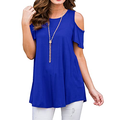 7764be92188ac PrinStory Women s Short Sleeve Casual Cold Shoulder Tunic Tops Loose Blouse  Shirts