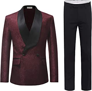 Cloudstyle Mens Suit Slim Fit 2-Piece Double Breasted Blazer Fashion Dress Business & Trousers